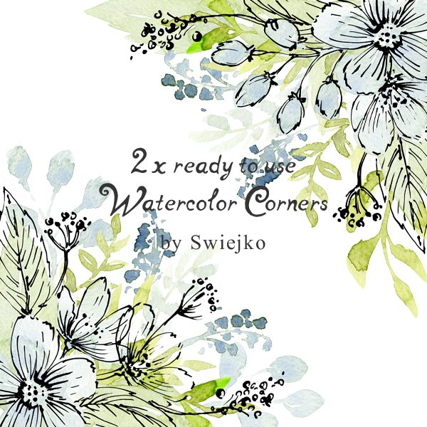 Soft Watercolor Flowers, ready to use corners and wreath Cliparts Swiejko    Mygrafico