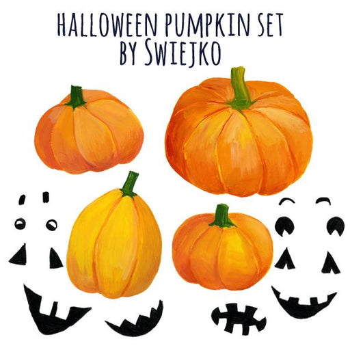 Halloween Pumpkin Clipart Set, hand painted, autumn