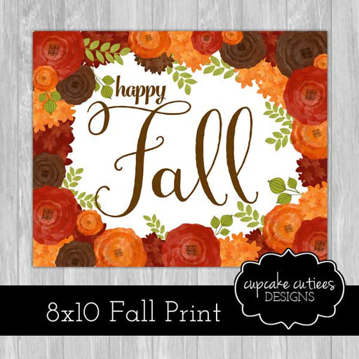 Happy Fall Watercolor 8x10 Home Print Printable Templates Cupcake Cutiees    Mygrafico