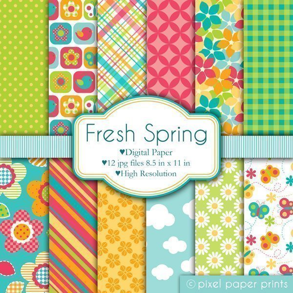 Fresh Spring Papers  Pixel Paper Prints    Mygrafico