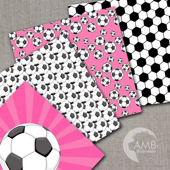 Sports Digital Paper, Pink Soccer Papers and Backgrounds, Football Field Papers, Soccer Scrapbook Papers, Commercial Use, AMB-1970 Digital Paper & Backgrounds AMBillustrations    Mygrafico