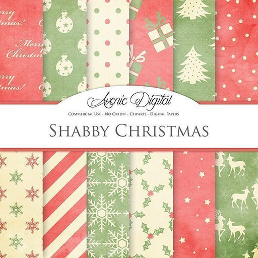 Shabby Chic Christmas Digital Paper  Avenie Digital    Mygrafico