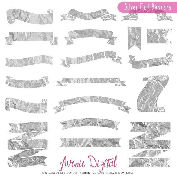 Silver Foil Ribbon Banner Clipart