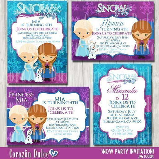 Snow Party invitations  Corazón Dulce    Mygrafico