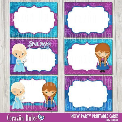 Snow Party Printable cards
