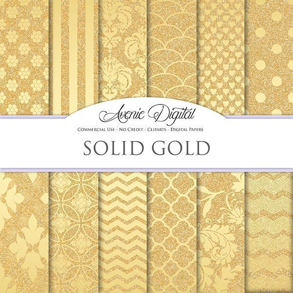 Solid Gold Glitter Digital Paper  Avenie Digital    Mygrafico