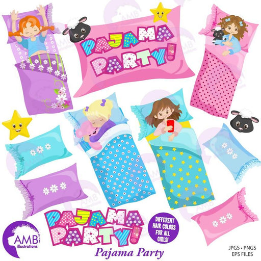 Slumber Party Clipart, Pyjama Party, Girls Sleep over, Pajama Clipart, Sleeping bag,  AMB-1235 Cliparts AMBillustrations    Mygrafico
