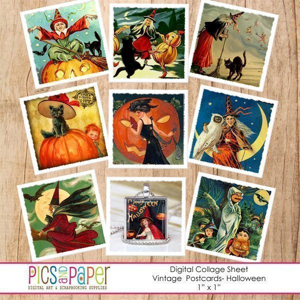 Halloween Vintage Postcards Inchies Printable Templates Pics and Paper    Mygrafico
