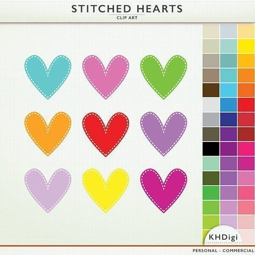Stitched Hearts Clipart Collection  KH Digi    Mygrafico