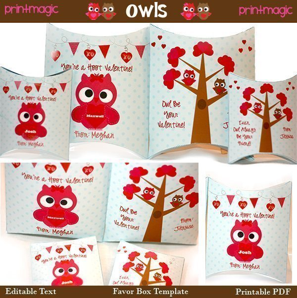 Owl Valentine Printable Pillowbox Gift Boxes Printable Templates Print Magic    Mygrafico