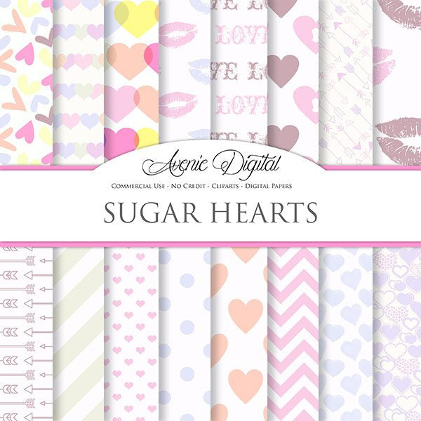 Pastel Digital Paper -  Sugar Hearts Digital Papers & Backgrounds Avenie Digital    Mygrafico