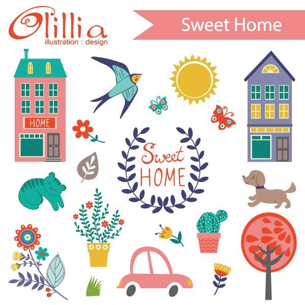 Sweet home clipart  Olillia Illustration    Mygrafico