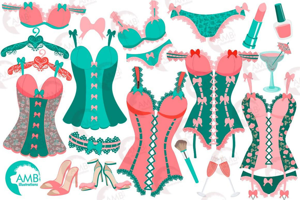 Bachelorette Clipart, Bachelorette Party Clipart, Lingerie Clipart, Corset, Wedding, Girls Night Out Clip Art, Commercial Use, AMB-2215 Cliparts AMBillustrations    Mygrafico