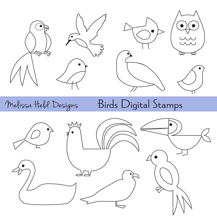 Birds Digital Stamps Digital Stamps Melissa Held Designs    Mygrafico