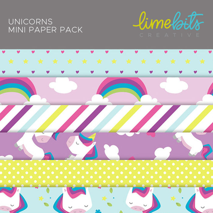 Unicorns Digital Paper Pack Digital Papers & Backgrounds Lime Bits Creative    Mygrafico