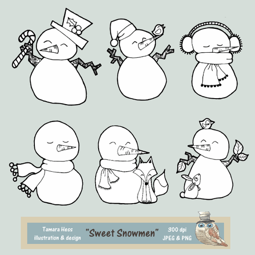 Sweet Snowmen Digital Stamps Digital Stamps Tamara Hess    Mygrafico