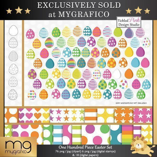 One Hundred Piece Easter Clipart, Stamps & Paper Set  Tickled Pink Design Studio    Mygrafico