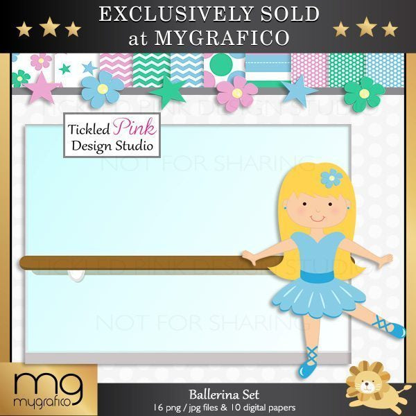 Ballerina Clipart & Paper Set  Tickled Pink Design Studio    Mygrafico