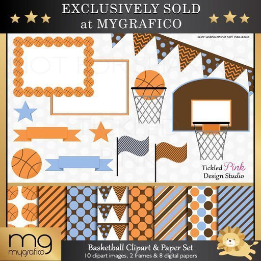 Basketball Clipart and Digital Paper Set  Tickled Pink Design Studio    Mygrafico