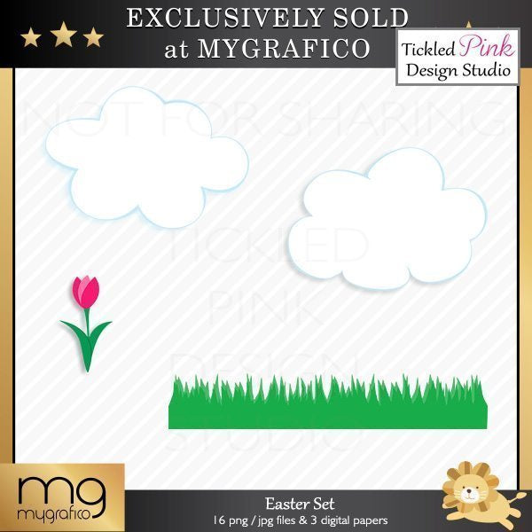 Easter Clipart & Digital Paper Set  Tickled Pink Design Studio    Mygrafico