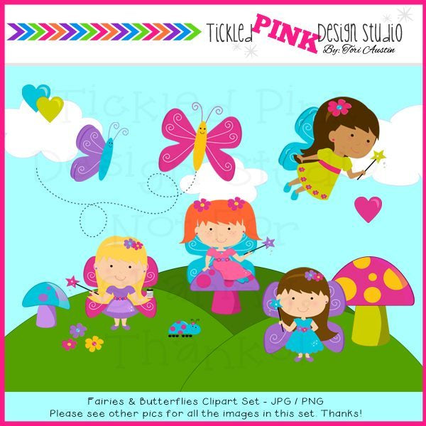 Fairies and Butterflies Clipart Set  Tickled Pink Design Studio    Mygrafico