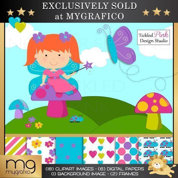 Fairies Clipart & Paper Set  Tickled Pink Design Studio    Mygrafico
