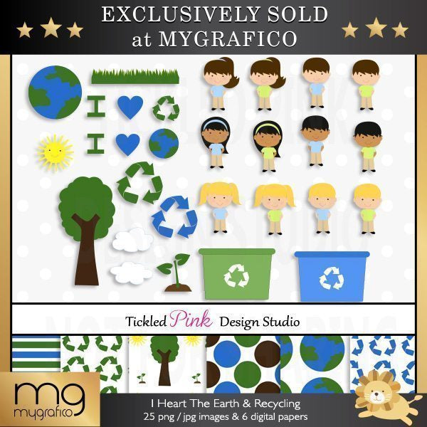 I Heart The Earth & Recycling Clipart and Paper Set  Tickled Pink Design Studio    Mygrafico