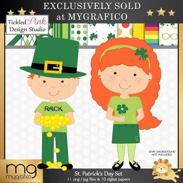 St Patrick's Day Clipart & Papers  Tickled Pink Design Studio    Mygrafico