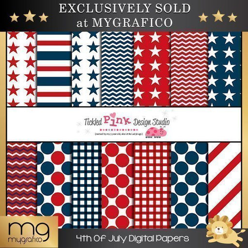 4th Of July Digital Paper Set Digital Papers & Background Tickled Pink Design Studio    Mygrafico