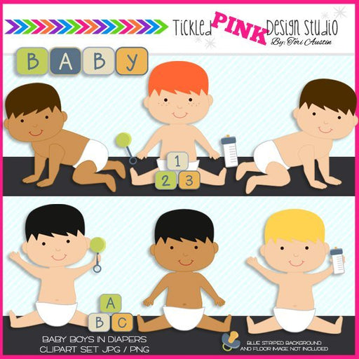 Baby Boy Clipart Set  Tickled Pink Design Studio    Mygrafico
