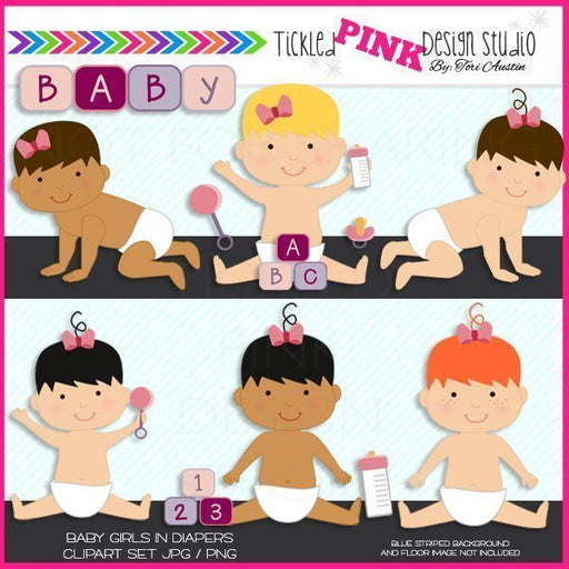 Baby Girl Clipart Set  Tickled Pink Design Studio    Mygrafico