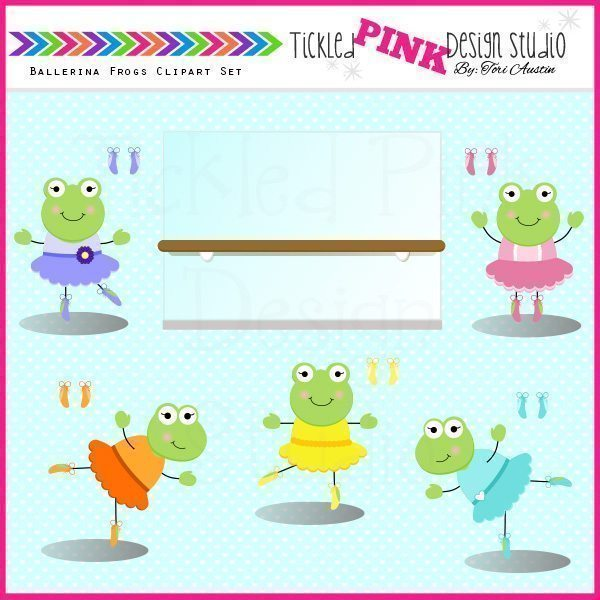 Ballerina Frogs Clip Art Set  Tickled Pink Design Studio    Mygrafico