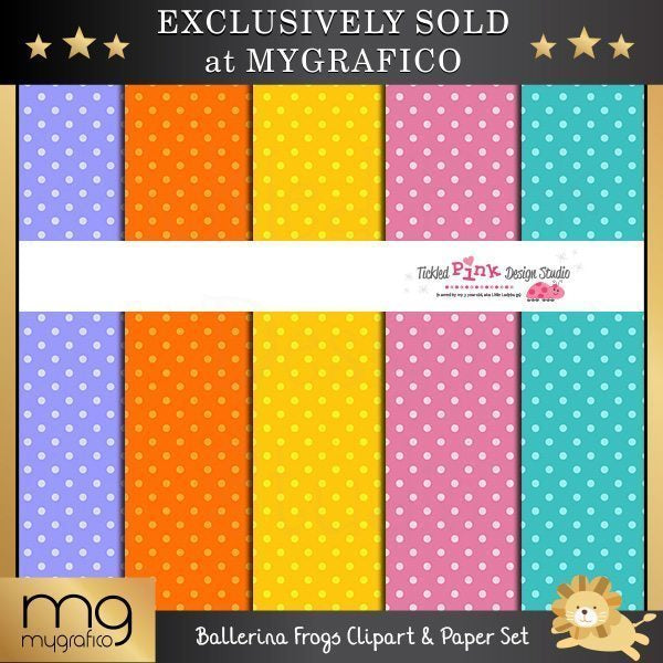 Ballerina Frogs Clipart and Paper Set  Tickled Pink Design Studio    Mygrafico