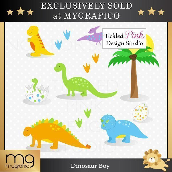Boys & Girls Dinosaur Clipart & Paper Set  Tickled Pink Design Studio    Mygrafico