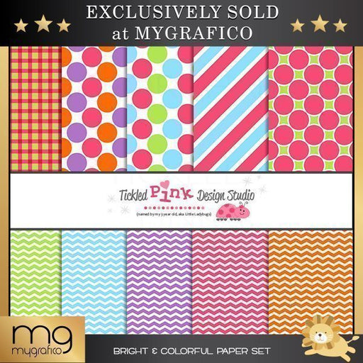 Bright & Colorful Digital Paper Set  Tickled Pink Design Studio    Mygrafico