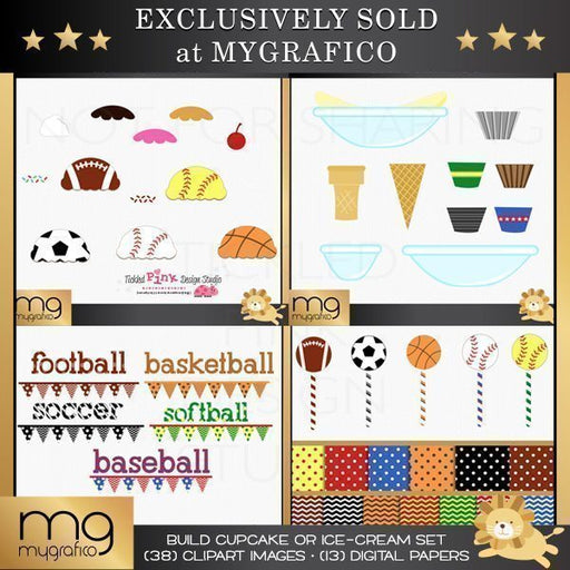 Build a Sport Cupcake or Ice Cream Clipart & Paper Set  Tickled Pink Design Studio    Mygrafico