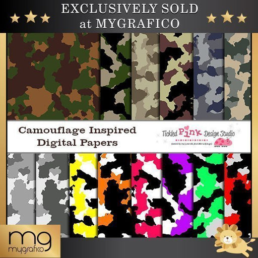 Camouflage Inspired Digital Paper Set  Tickled Pink Design Studio    Mygrafico