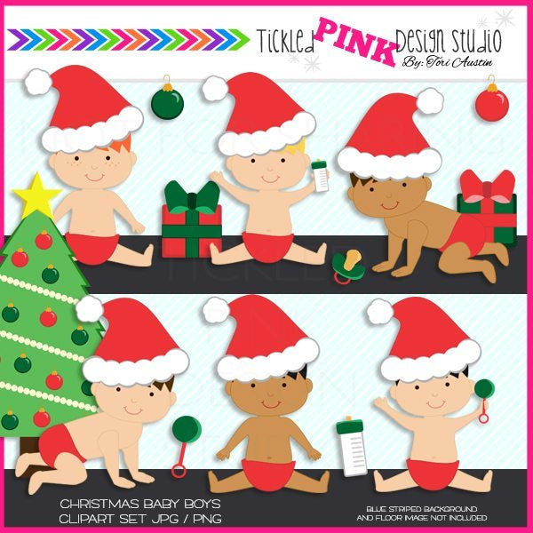 Christmas Baby Boy Clipart Set  Tickled Pink Design Studio    Mygrafico