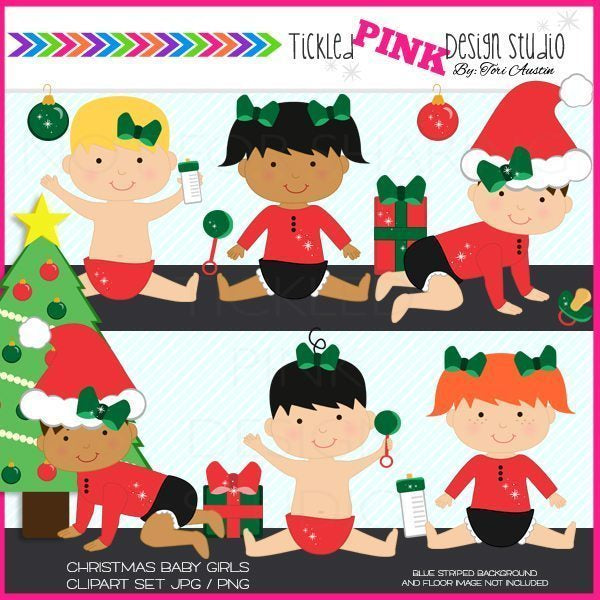 Christmas Baby Girl Clipart Set  Tickled Pink Design Studio    Mygrafico