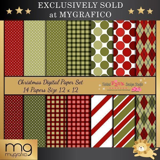 Christmas Digital Paper Set  Tickled Pink Design Studio    Mygrafico