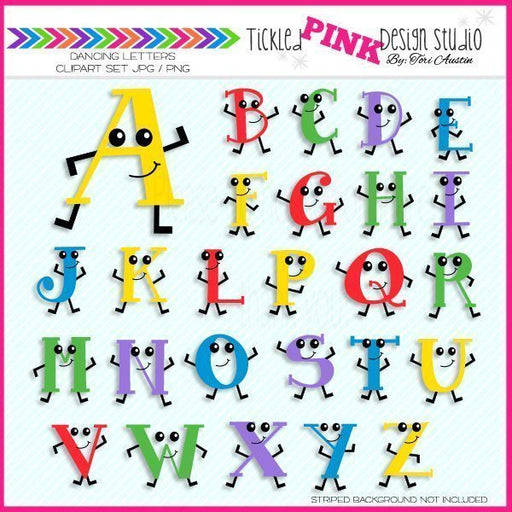 Dancing Letters Set  Tickled Pink Design Studio    Mygrafico