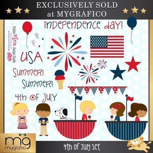 4th of July Clip art & Digital Paper Set Clipart & Digital Paper Tickled Pink Design Studio    Mygrafico
