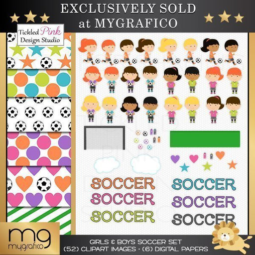 Girls & Boys Soccer Clipart & Paper Set  Tickled Pink Design Studio    Mygrafico