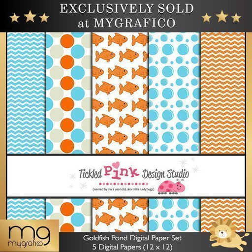 Goldfish Pond Digital Paper Set  Tickled Pink Design Studio    Mygrafico
