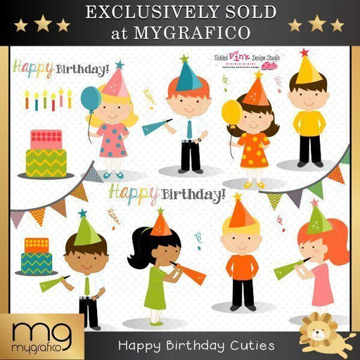 Happy Birthday Cuties Clipart Set  Tickled Pink Design Studio    Mygrafico