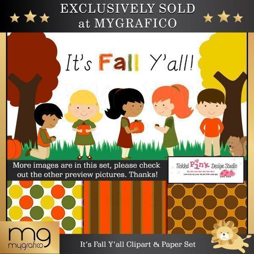 It's Fall Y'all Clip-art & Digital Paper Set  Tickled Pink Design Studio    Mygrafico