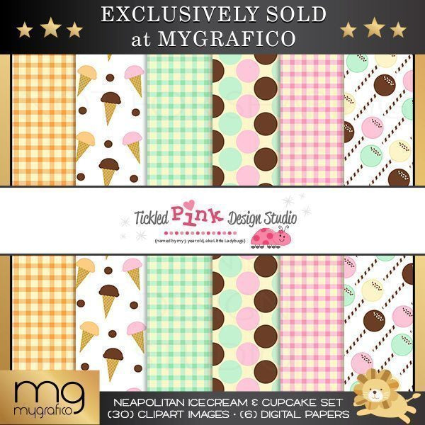 Neapolitan Ice-cream & Cupcake Set  Tickled Pink Design Studio    Mygrafico