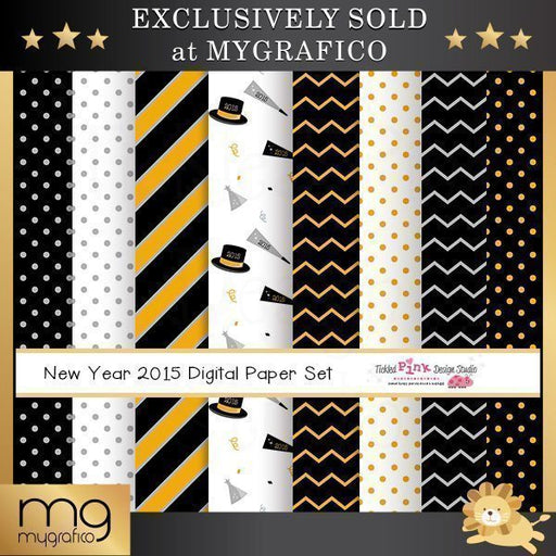 New year 2015 Digital Paper Set  Tickled Pink Design Studio    Mygrafico