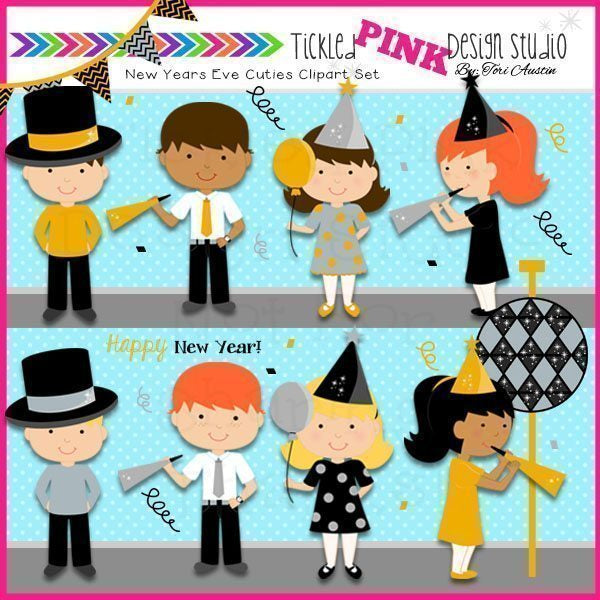 New Years Eve Cuties Clip Art Set  Tickled Pink Design Studio    Mygrafico