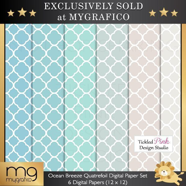 Ocean Breeze Quatrefoil Digital Paper Set  Tickled Pink Design Studio    Mygrafico